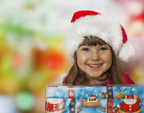Christmas gift and happy kid stock image