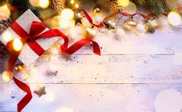 Christmas gift; holidays composition on wooden background; Chri