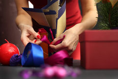 Christmas gift idea how to decorate a gift Stock Photos