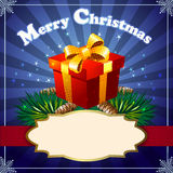 Christmas gift. Illustration with Christmas gift on the pine tree branch against blue festive background royalty free illustration