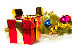 Christmas gift isolated on white background Stock Photos