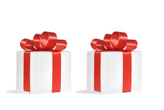 Christmas gift, isolated white background. Christmas gift, red bow isolated Royalty Free Stock Images