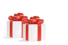 Christmas gift, isolated white background. Christmas gift, red bow isolated Stock Photo