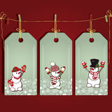 Christmas gift labels with snowmans. Stock Images