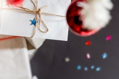 Christmas gift letter. Under christmas tree ornaments selective focus concept Royalty Free Stock Image
