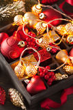 Christmas gift lights and decoration in wooden box Royalty Free Stock Image