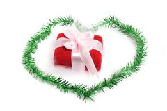 Christmas gift on love border Stock Image