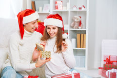 Christmas gift. man gives a woman gift present box Royalty Free Stock Images