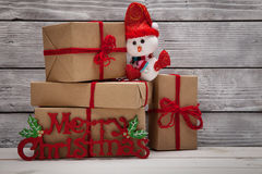Christmas gift and Merry Christmas banner Stock Images