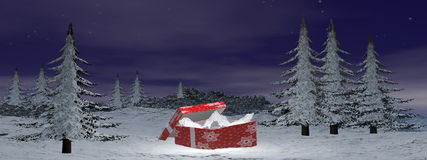 Christmas gift at the mountain - 3D render Royalty Free Stock Photo