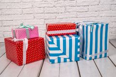 Christmas gift or new year present box. On desk Royalty Free Stock Photo