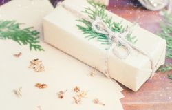 Christmas gift in organic craft paper and tree branches with twi Stock Photos