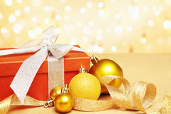 Christmas gift and ornaments Stock Photos