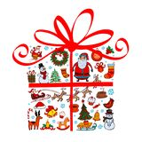 Christmas gift with ornaments Royalty Free Stock Photography