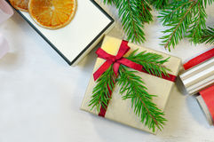 Christmas gift and package items Overhead view. Christmas mood p Royalty Free Stock Photos
