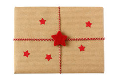 Christmas gift package with red stars Stock Photos