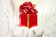 Christmas gift in palms of hands Royalty Free Stock Photography