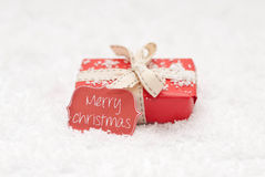 Christmas. Gift and paper label Stock Photography