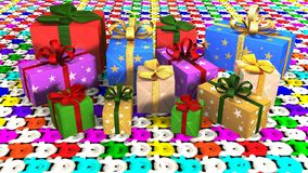 Christmas gift parcels arranged on carpet Royalty Free Stock Photo
