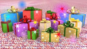 Christmas gift parcels arranged on carpet Stock Photo