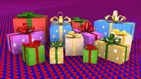 Christmas gift parcels arranged on carpet Stock Images