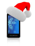Christmas gift phone. 3d illustration of modern mobile phonewith christmas hat Stock Photo