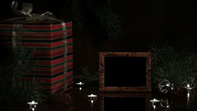 Christmas gift and photo frame. stock video footage