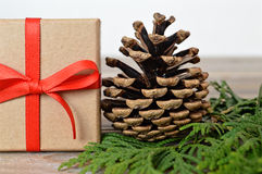 Christmas gift and pine cone Stock Photography