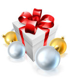 Christmas Gift or Present and Tree Baubles Stock Photo
