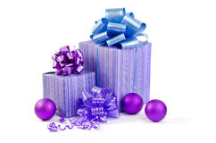 Christmas gift with Purple Ball and ribbon bow Stock Image