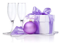 Christmas gift with Purple Ball, two empty glass Royalty Free Stock Image