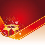 Christmas gift and red background Royalty Free Stock Photo