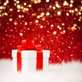Christmas gift with red bow Stock Images