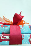 Christmas Gift. Red bow isolate Stock Images