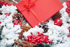 Christmas gift in a red box Stock Image