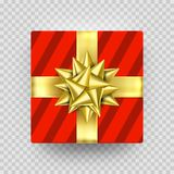Christmas gift box present red golden ribbon bow wrapper pattern vector. Christmas gift red box New Year present in golden ribbon bow and wrapping paper wave Royalty Free Stock Images