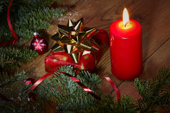 Christmas gift red candle present Royalty Free Stock Images