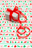 Christmas gift, with red ribbon Royalty Free Stock Photography