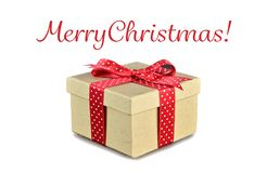 Christmas gift with red ribbon isolated on white. Background Royalty Free Stock Photos