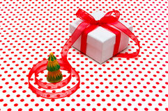 Christmas gift, with red tape Royalty Free Stock Photography