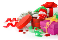 Christmas gift with ribbon Stock Image