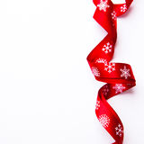Christmas gift ribbon on white background