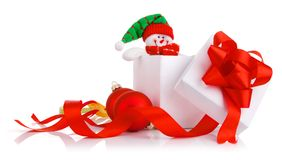Christmas gift with ribbons and bow Royalty Free Stock Photo