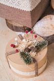 Christmas gift in a round box Royalty Free Stock Photo