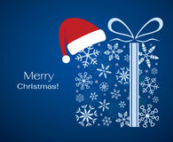 Christmas gift with santa claus hat Stock Photo