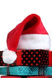 Christmas gift and santa hat Stock Photography