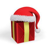 Christmas gift and santa hat 3d rendering Stock Images