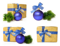 Christmas gift set with the blue ball Stock Photos