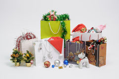 Christmas gift and shopping bag Stock Images