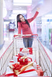 Christmas gift shopping at the mall Royalty Free Stock Photos